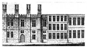 'A depiction of the north (rear) side of the Tudor Manor house, showing the 17th-century addition (right)' From Landownership: Chelsea Manor, A History of the County of Middlesex: Volume 12: Chelsea. (c) British History Online