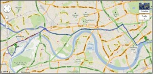 Google Map showing the river Thames from Chelsea to Syon. (c) Google Maps