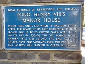 Plaque marking where Chelsea Manor once stood