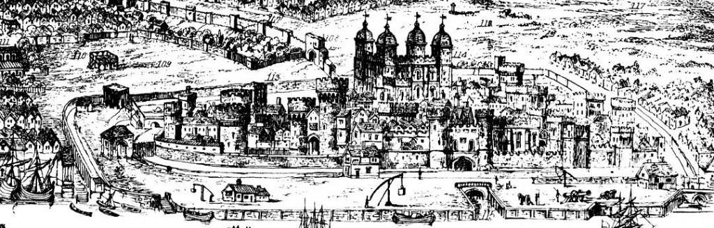 Close up of the Tower of London and the scaffold on Tower Hill where Guildford Dudley died. From 'A view of London, Westminster and Southwark, as they appeared A.D. 1543. 19th Century engraving by Nathaniel Whittock from a drawing by Antony van den Wyngaerde' Wikimedia Commons