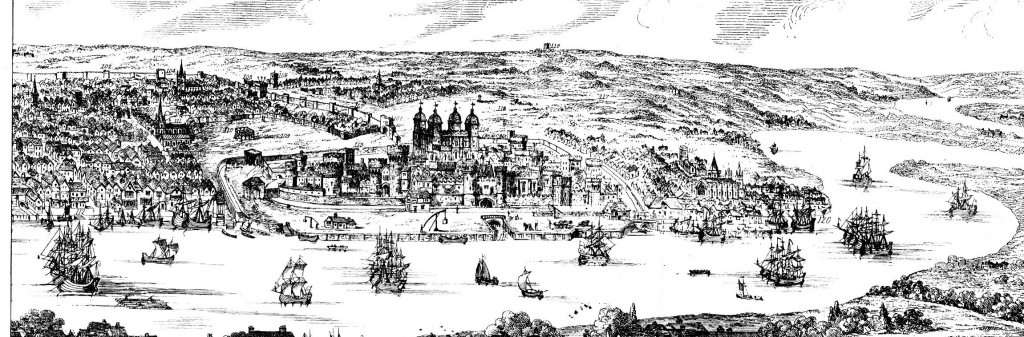 From 'A view of London, Westminster and Southwark, as they appeared A.D. 1543. 19th Century engraving by Nathaniel Whittock from a drawing by Antony van den Wyngaerde' Wikimedia Commons