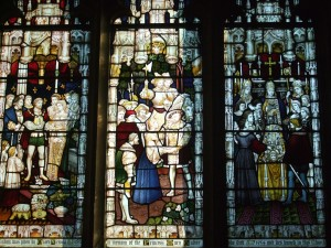 Close up of window showing (4) her marriage to Charles Brandon in March 1515; (5) their reconciliation with Henry VIII in England in May 1515; (6) Mary's funeral at Bury Abbey in 1533