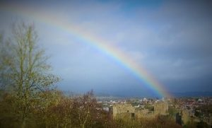 Rainbow over Ludlow castle and town, February 2016